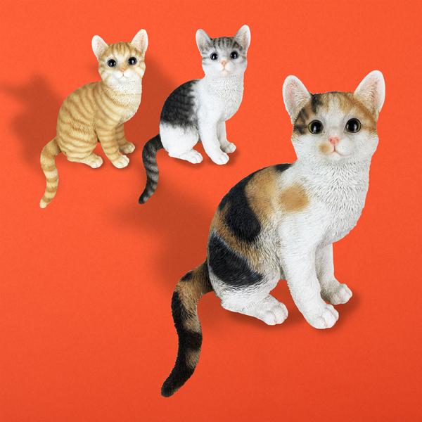三毛猫 猫 ねこ ネコ 置物 オブジェ インテリア ガーデン 誕生日 かわいい プレゼント 猫まっしぐらセレクト 店舗 雑貨 ギフト 出色 グッズ 猫の置物-お座り