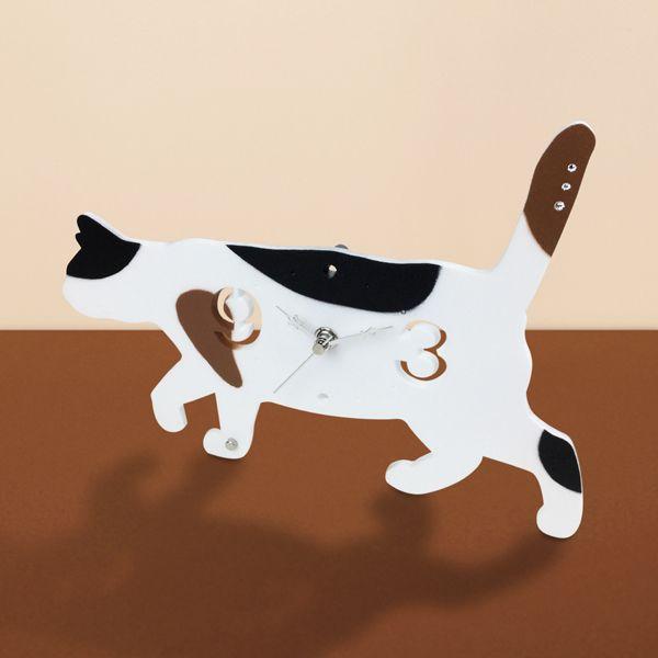 三毛猫 猫 ねこ ネコ 時計 置き時計 プレゼント かわいい 美品 誕生日 お祝い 雑貨 猫まっしぐらセレクト 猫の置時計-お散歩猫 1年間保証書付 グッズ ギフト COLLECTION T'S