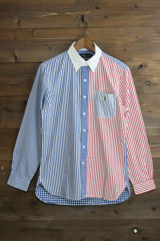 21bf0cbc POLO RALPH LAUREN polo Ralph Lauren M GINGAMxSTRIPE SHIRTS one point  embroidery gingham check x stripe ...