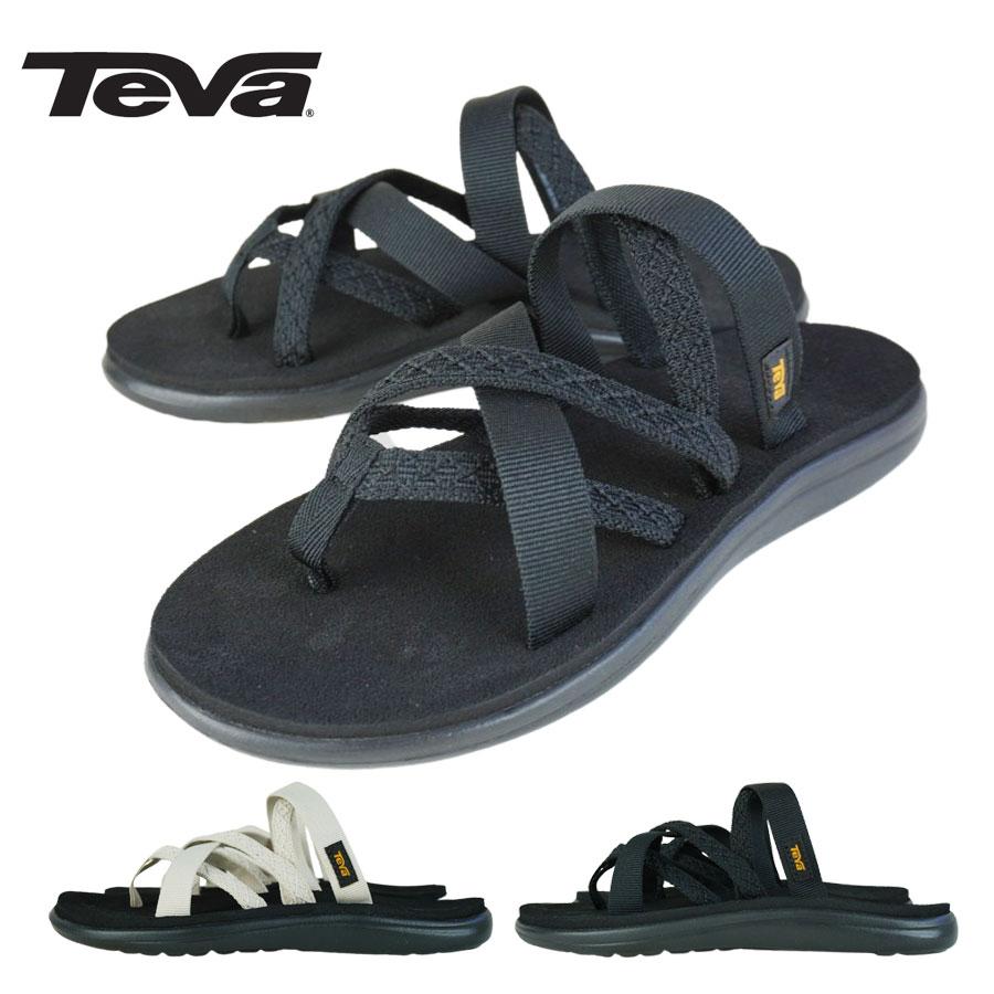 ストラップの太さを変えて女性らしいデザインのスライドサンダル! 【クリックポスト対応可】TEVA テバ1117032 W VOYA ZILLESAウィメンズ ボヤ ジレッサMAHANI BLACK(マハニブラック)MAHANI WHITE SWAN(マハニホワイトスワン)黒 白 レディース サンダル 靴 カジュアル 軽量