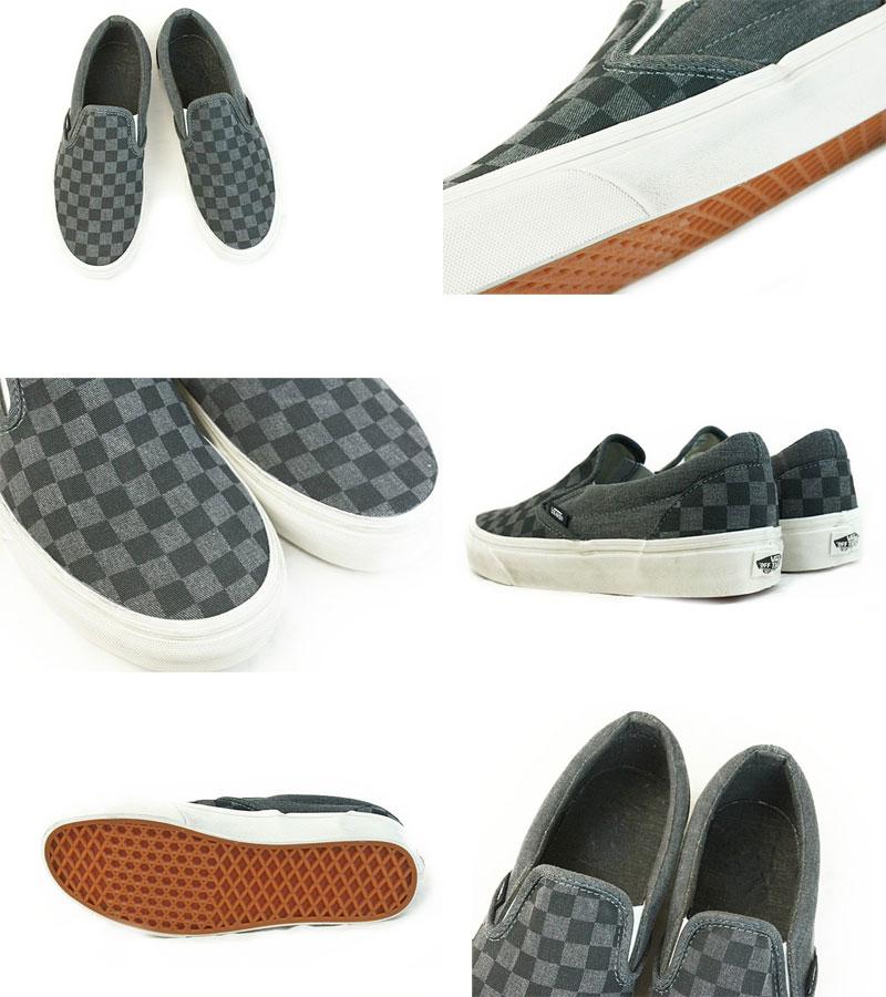 VANS旅行车卡车CLASSIC SLIP ON古典懒汉鞋(OVERWASHED)BLACK/CHECKER(夸大的洗涤沟框/查对者)男子的女子的鞋鞋黑洗加工旗帜