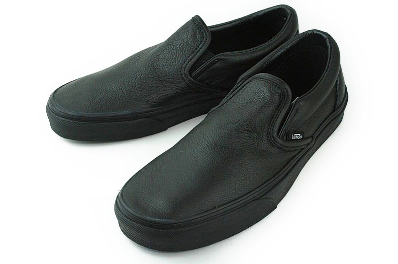 vans slip on black leather