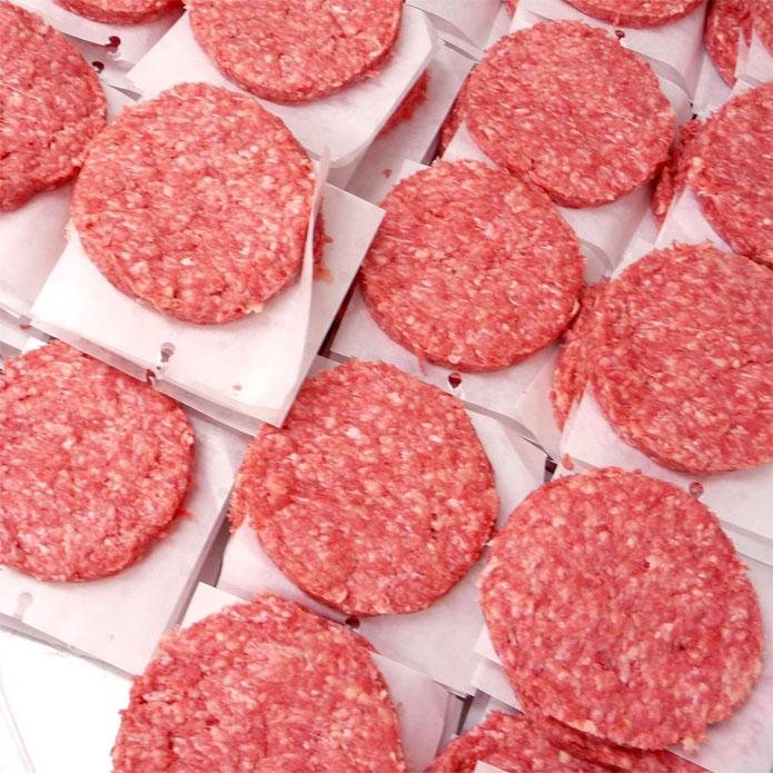 〓業務用〓ビーフパティ1箱 5kg 50枚入-学園祭・大人数BBQなどにハンバーガー!牛肉バーガー -B114k