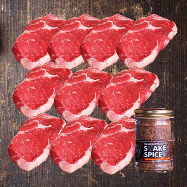 【送料無料】ステーキ肉 超厚切りリブロースステーキ270gサイズ×10枚(約2.7kg)+ステーキスパイス120g 肉厚ステーキ!!牛肉☆オージービーフ★お得さ福袋級!/バーベキューセット 肉 BBQ食材 アウトドア キャンプ-SET110