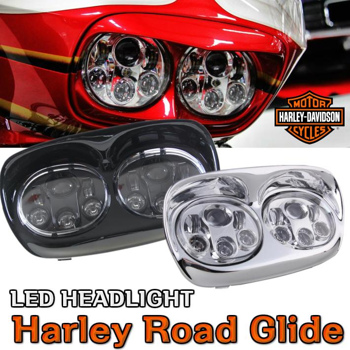 ハーレー ロードグライド FFLTR LED ヘッドライト デュアル ブラック クロッム Hi/Lo ハーレーダビッドソン パーツ バルブ プロジェクターLED フェイスパネル付 防水ヘッドライトグリル FLTR用