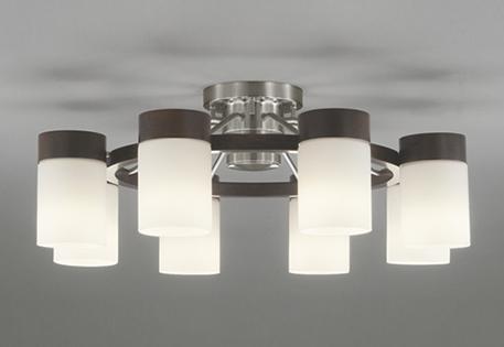 一部地域除き送料無料【ODELIC オーデリック】『OC257067PC』LED 照明 シャンデリア 天井 居間 リビング ~14畳 8灯 洋風 ガラス リモコン付 調光 調色 鋼 木材 エボニーブラウン 乳白 ホワイトブロンズメッキ