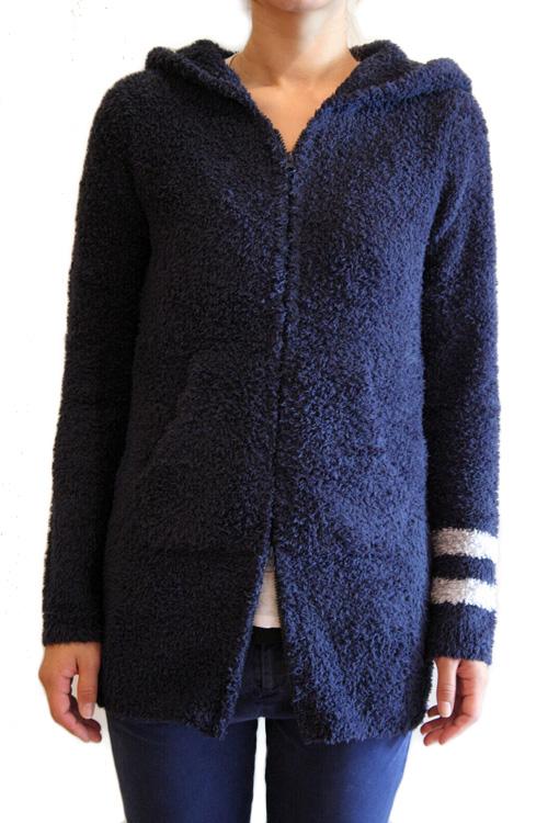 【正規取扱店】Barefoot Dreams 595 Womens Long Zip Hoodie with stripe ロングジップフーディ ウィズストライプ NAVY(ネイビー) (ベアフットドリームス)