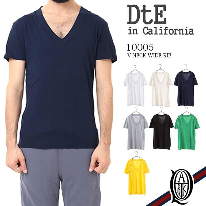 【正規取扱店】DtE in California 10005 V NECK WIDE RIB 8色 (半袖Vネックワイドリブ ディーティーイーインカリフォルニア)