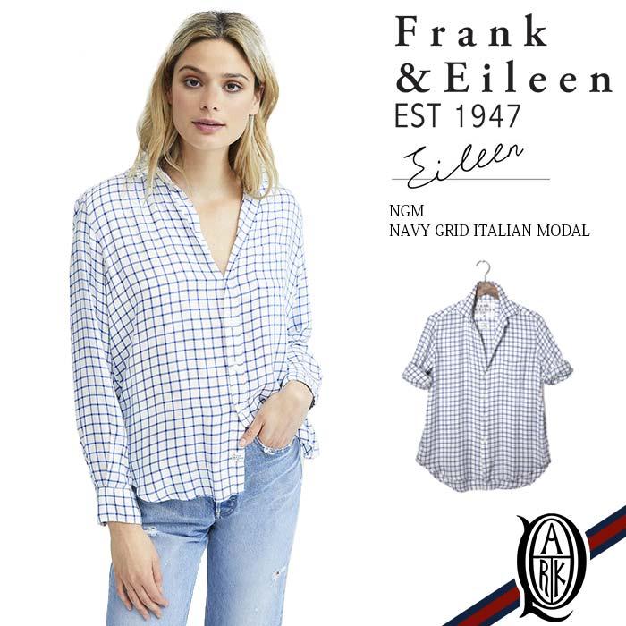 【正規取扱店】Frank&Eileen EILEEN NGM レディースシャツ NAVY GRID ITALIAN MODAL フランクアンドアイリーン エイリーン