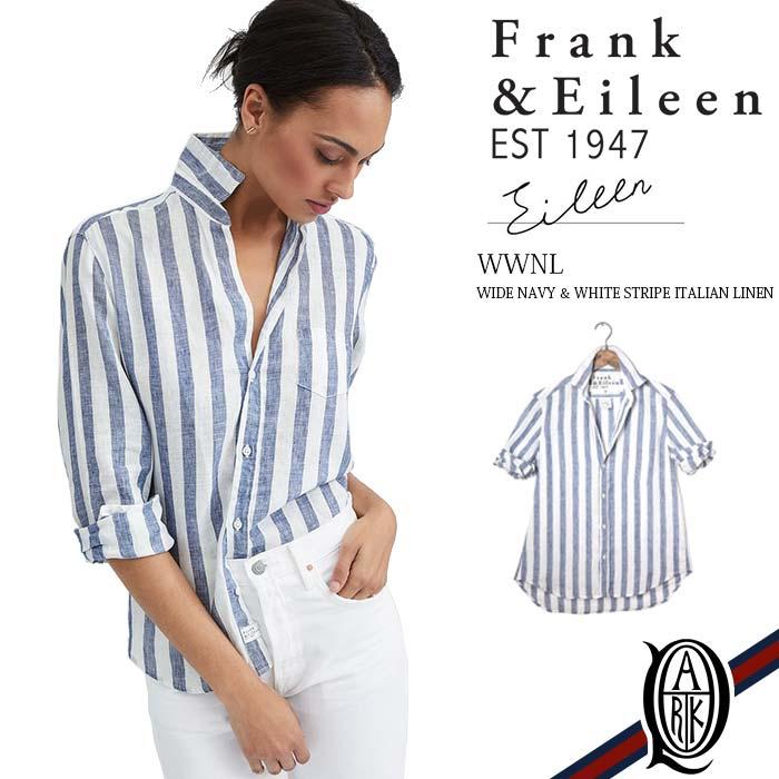 【正規取扱店】Frank&Eileen EILEEN WWNL レディースシャツ WIDE NAVY & WHITE STRIPE ITALIAN LINEN フランクアンドアイリーン エイリーン