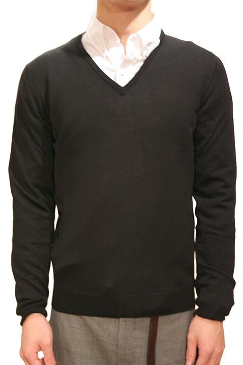 【正規取扱店】ROBERTO COLLINA 定番Vネックニット BLACK(ブラック) (ロベルトコリーナ)