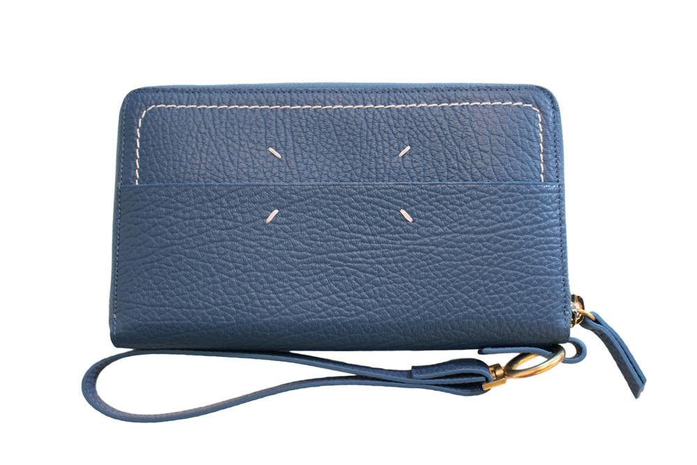 【正規取扱店】Maison Margiela Lady's 17S/S ストラップ付きラウンドジップ長財布 530 BLUE (メゾンマルジェラ レディース)