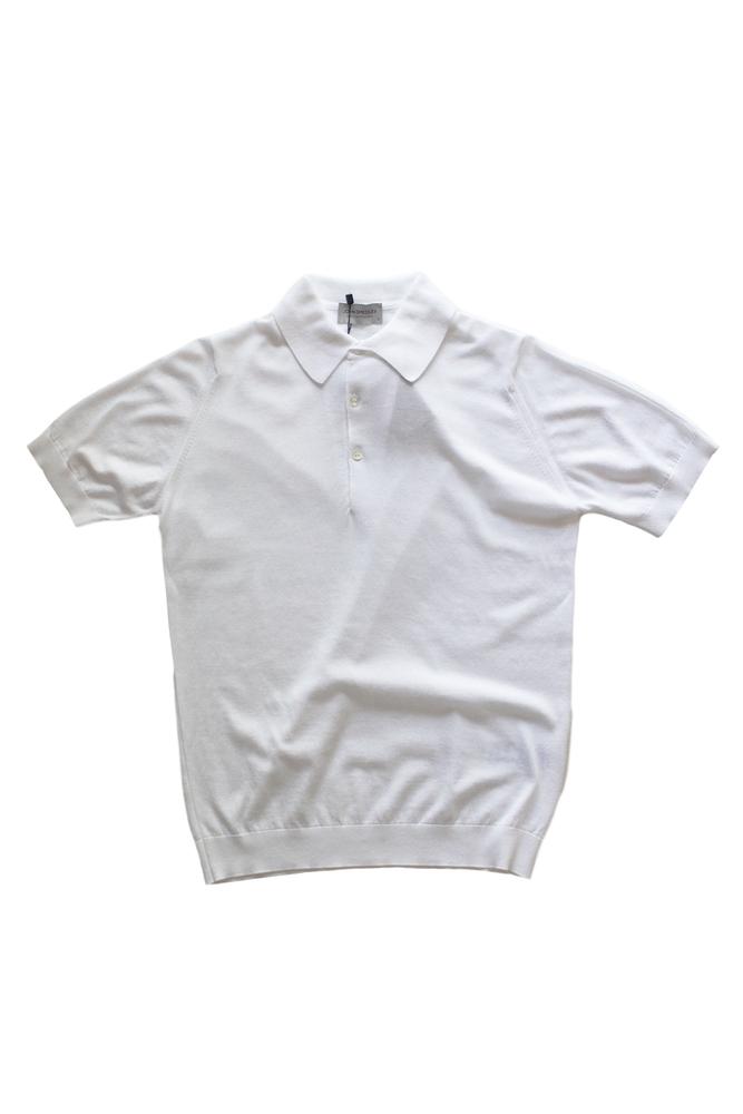 【正規取扱店】JOHN SMEDLEY 18S/S S3798 コットンニットポロシャツ WHITE (ジョンスメドレー)