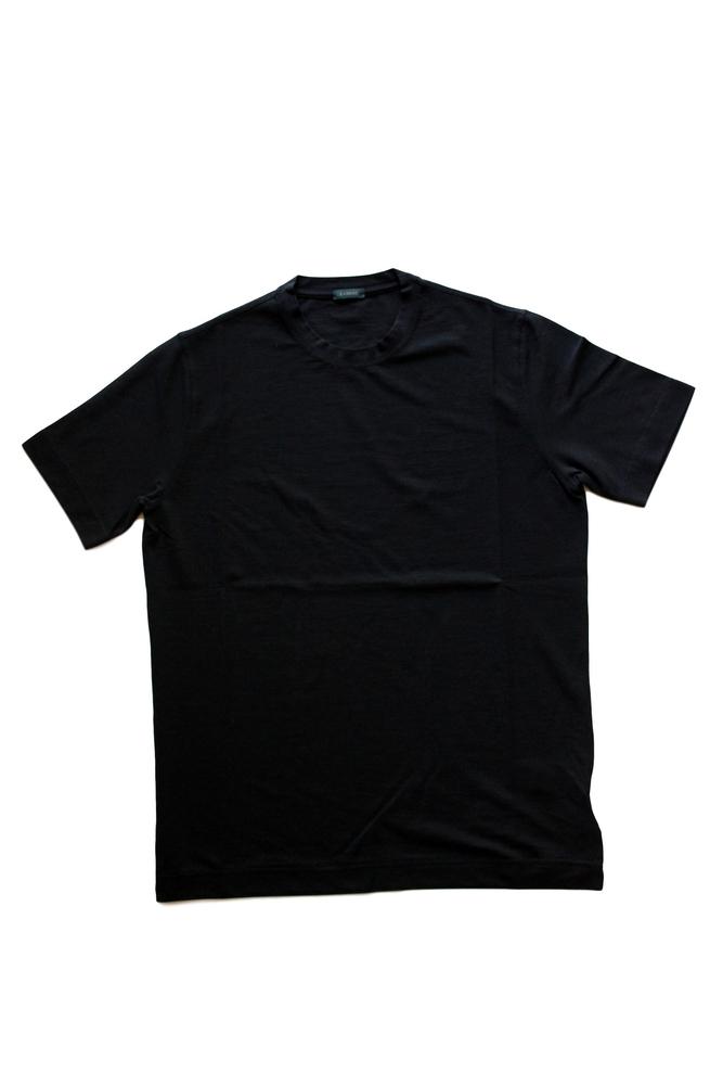 【正規取扱店】ZANONE アイスコットンクルーネックカットソー 811821 Z0015 BLACK (ザノーネ)