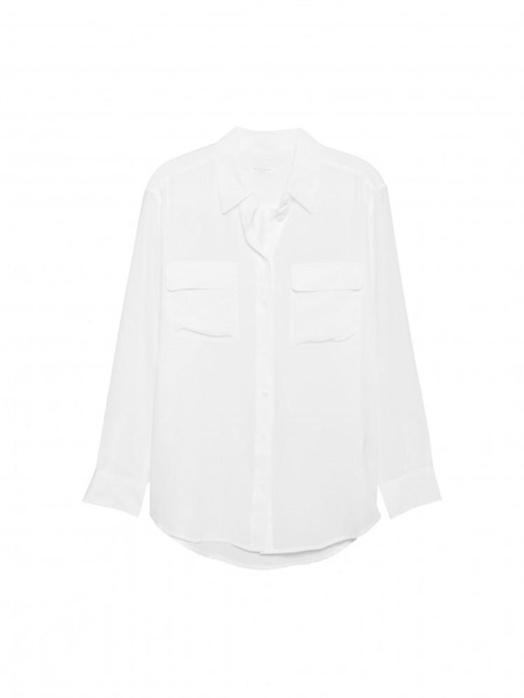 【正規取扱店】EQUIPMENT SIGNATURE 定番シルクシャツ WHITE (エキプモン)