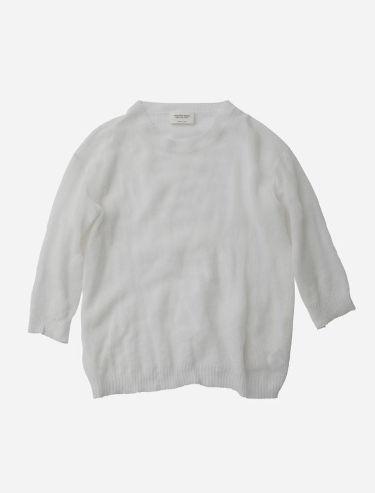 【正規取扱店】beautiful people 17SS shape memory sheer pullover white (ビューティフルピープル)
