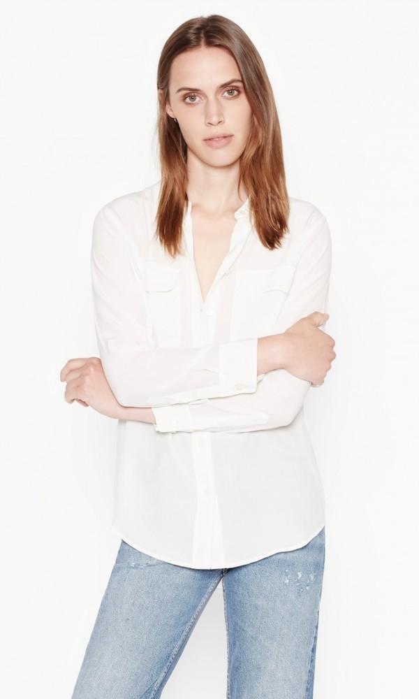 【正規取扱店】EQUIPMENT SLIM SIGNATURE 定番シルクシャツ OFF WHITE (エキプモン)