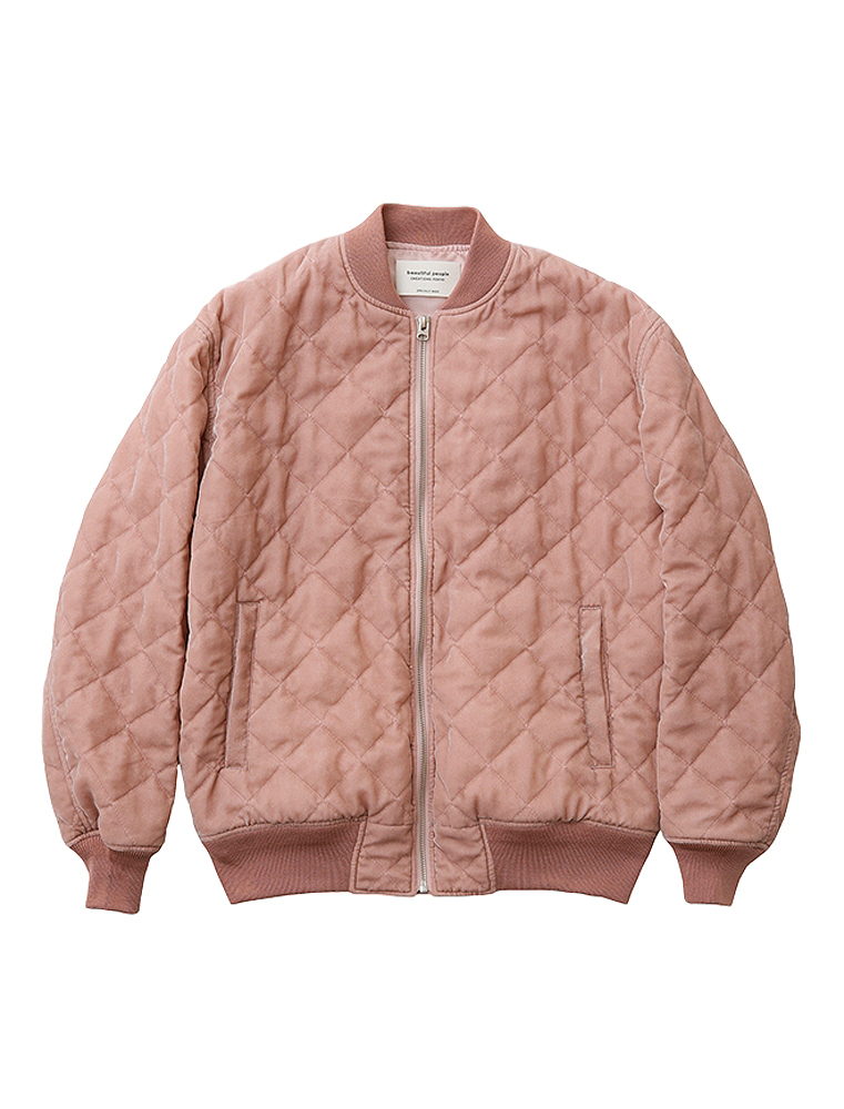 【正規取扱店】beautiful people 17-18A/W クラッシュベルベットキルティングMA-1 pink (ビューティフルピープル)