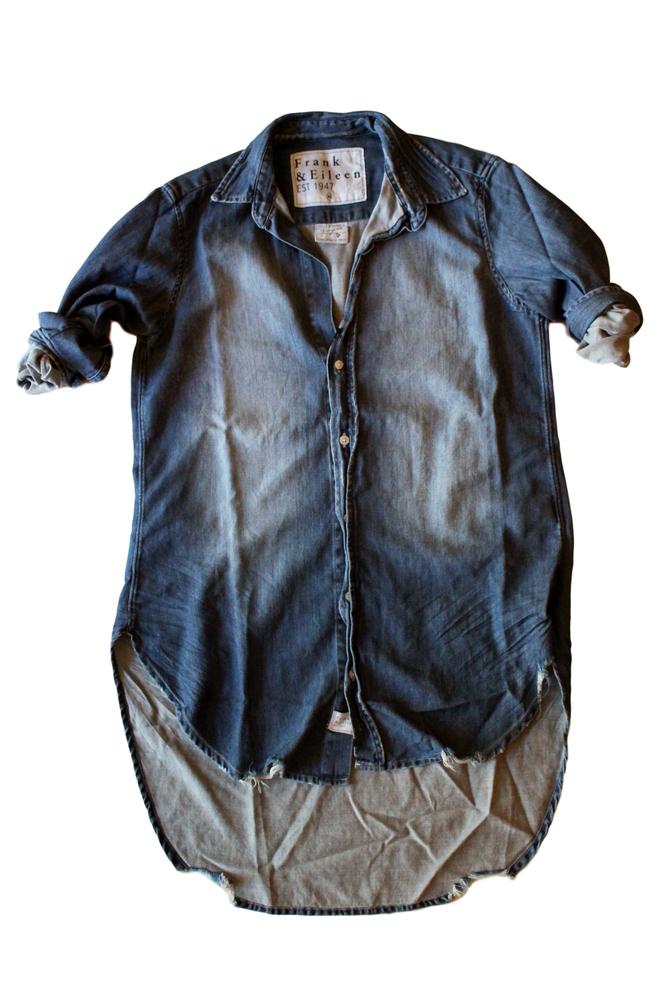 【正規取扱店】Frank&Eileen GRAYSON レディースロングシャツ STONEWASHED INDIGO FDWD (フランクアンドアイリーン)