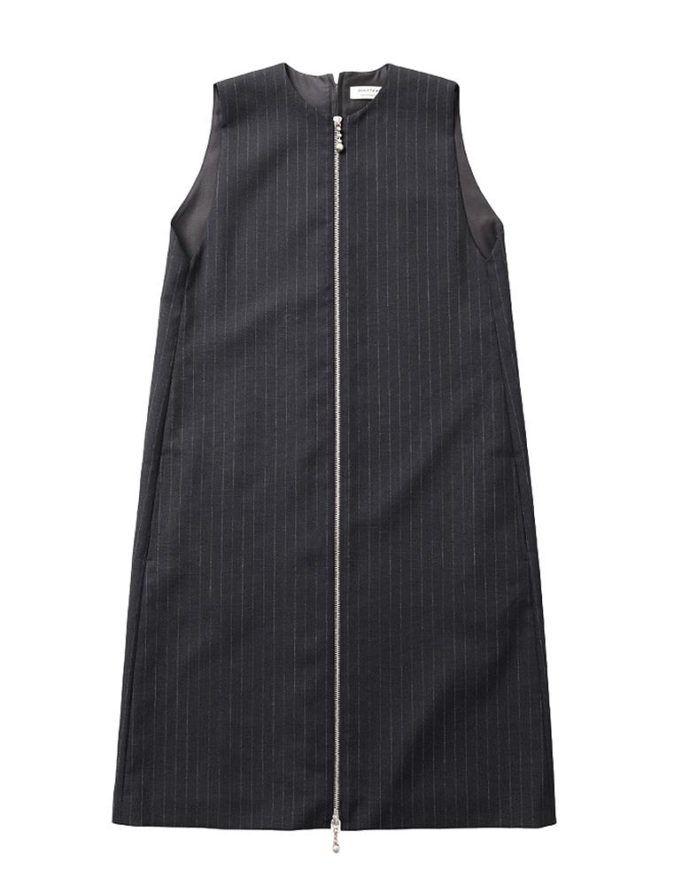 【正規取扱店】beautiful people 18S/S チョークストライプジッパーシフトドレス black (ビューティフルピープル)