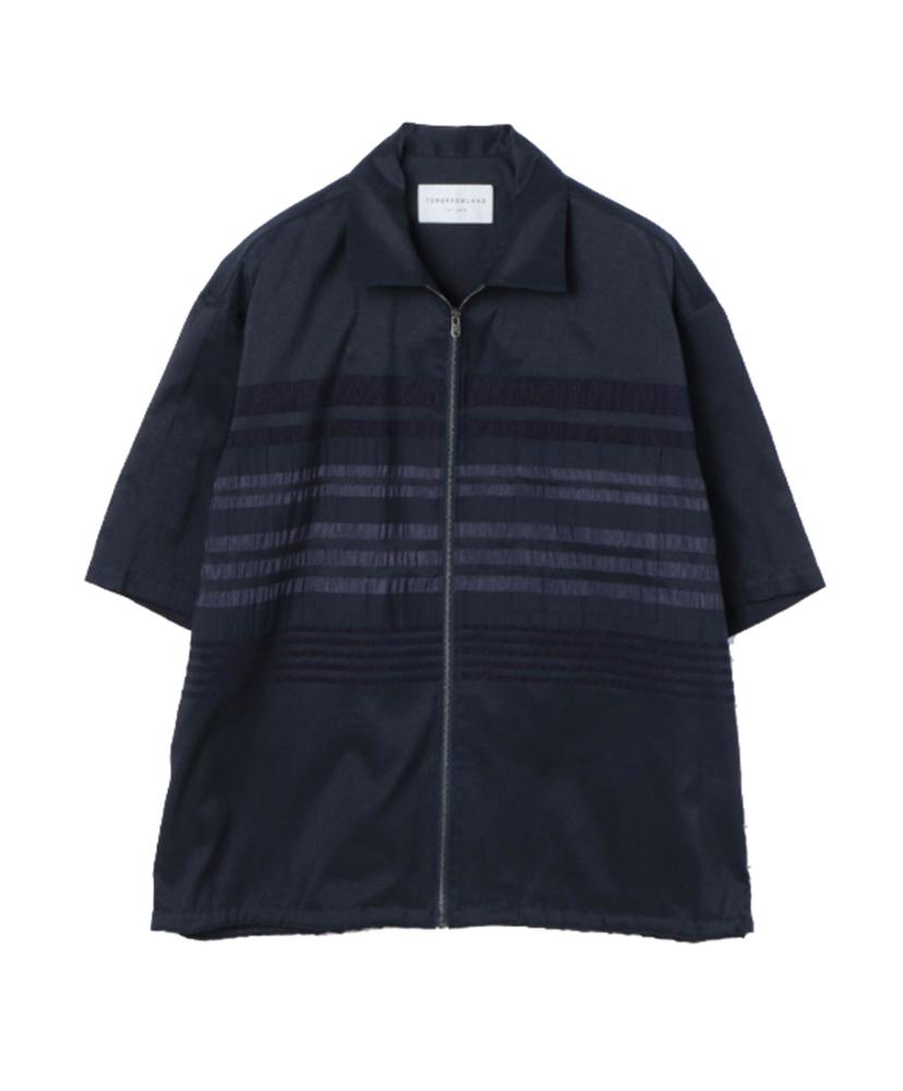 【正規取扱店】TOMORROWLAND 18S/S パネルストライプ ジップシャツ NAVY (トゥモローランド)