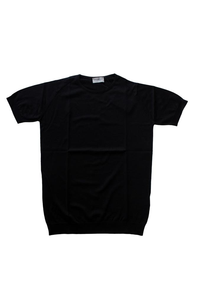 【正規取扱店】JOHN SMEDLEY 18S/S BELDEN 半袖コットンニット BLACK (ジョンスメドレー)