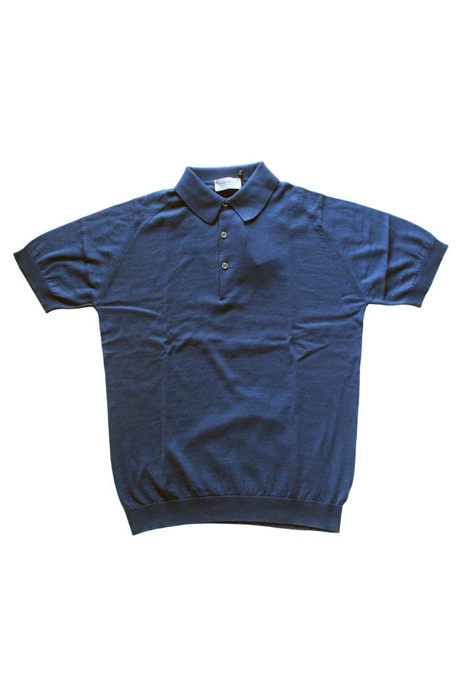 【正規取扱店】JOHN SMEDLEY 18S/S S3798 コットンニットポロシャツ INDIGO (ジョンスメドレー)