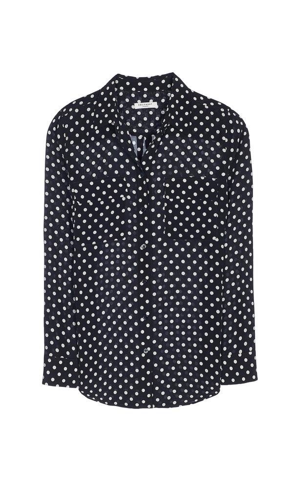 【正規取扱店】EQUIPMENT SLIM SIGNATURE 定番シルクシャツ ドットプリント ECLIPSE(DARK BLUE) (エキプモン)
