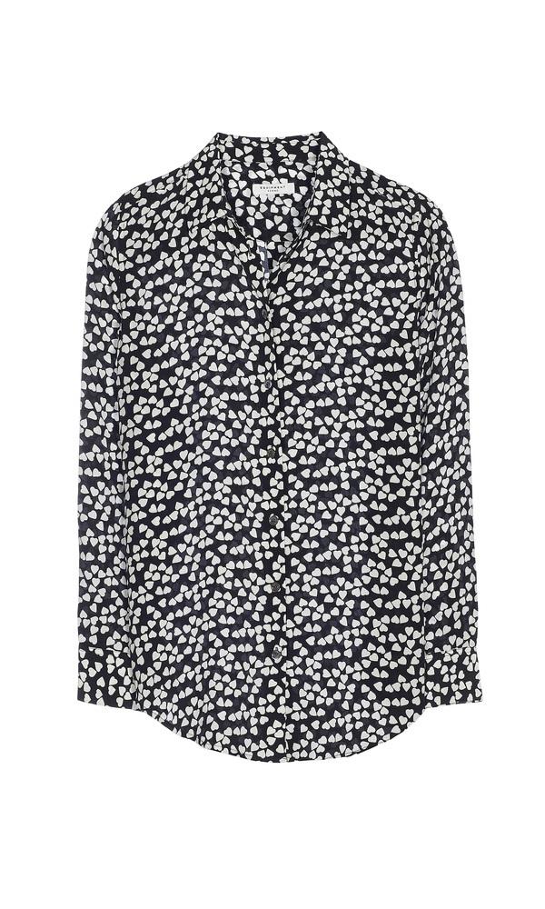 【正規取扱店】EQUIPMENT ESSENTIAL シルクシャツ ハートプリント BLACK (エキプモン)