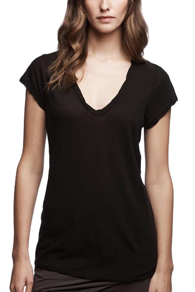 【正規取扱店】JAMES PERSE WEK3182 ハイゲージ深VネックTシャツ BLACK (ジェームスパース)