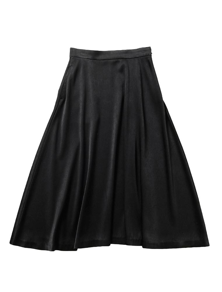 【正規取扱店】beautiful people 18-19A/W チンチラサテンサーキュラーヘムスカート black (ビューティフルピープル)