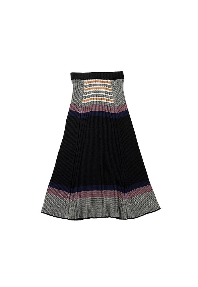 【正規取扱店】beautiful people 18-19A/W ストライプニットスカート black (ビューティフルピープル)