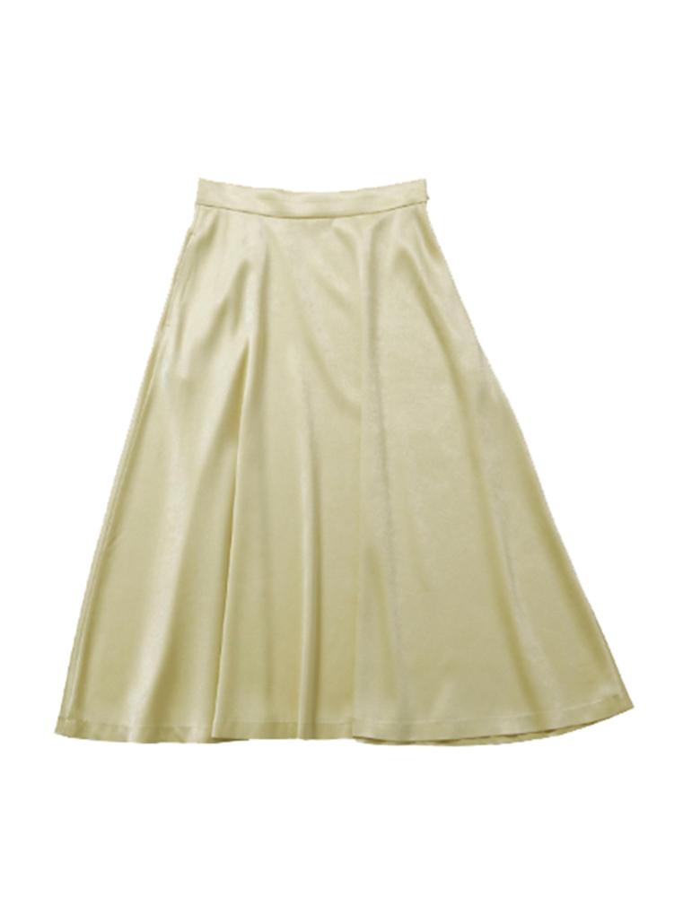 【正規取扱店】beautiful people 18-19A/W チンチラサテンサーキュラーヘムスカート yellow (ビューティフルピープル)