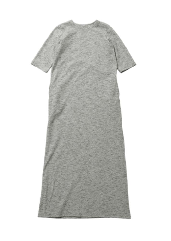 【正規取扱店】beautiful people 18-19A/W クレープニットロングTドレス grey (ビューティフルピープル)