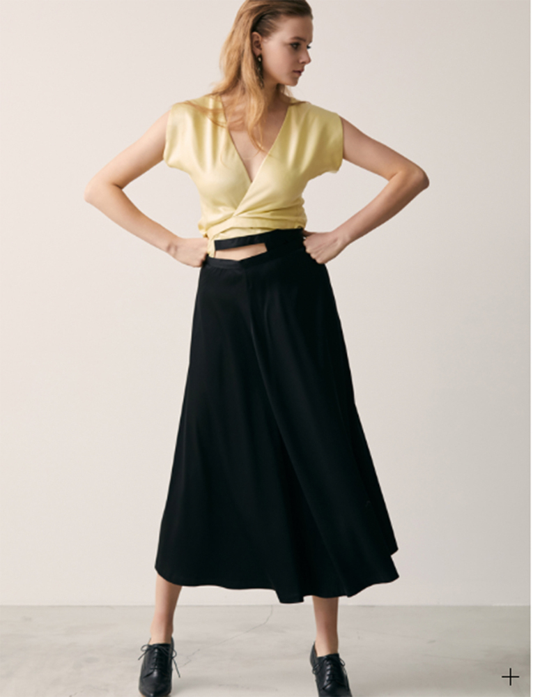 【正規取扱店】beautiful people 18-19A/W チンチラサテン2in1ラップドレス black (ビューティフルピープル)