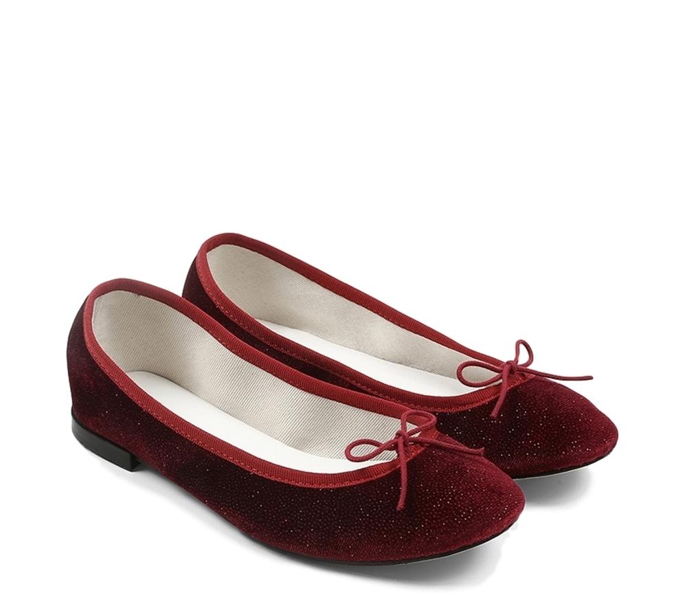 【正規取扱店】repetto Ballerina Cendrillon Velours Glitter Red (レペット) (サンドリオン レペット)