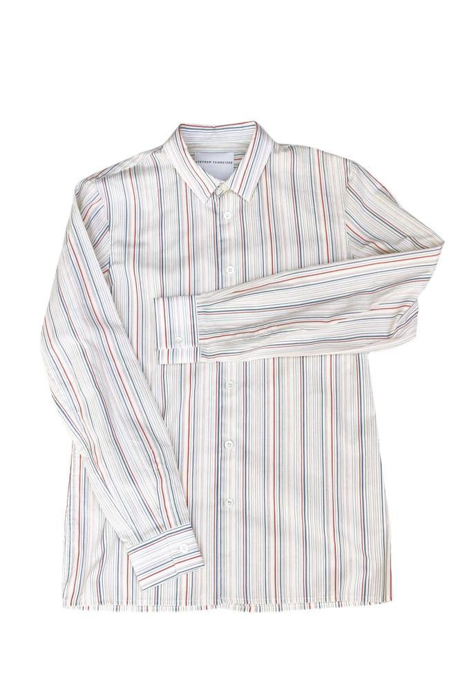 【正規取扱店】STEPHAN SCHNEIDER 18-19A/W マルチストライプシャツ WHITE (ステファンシュナイダー)