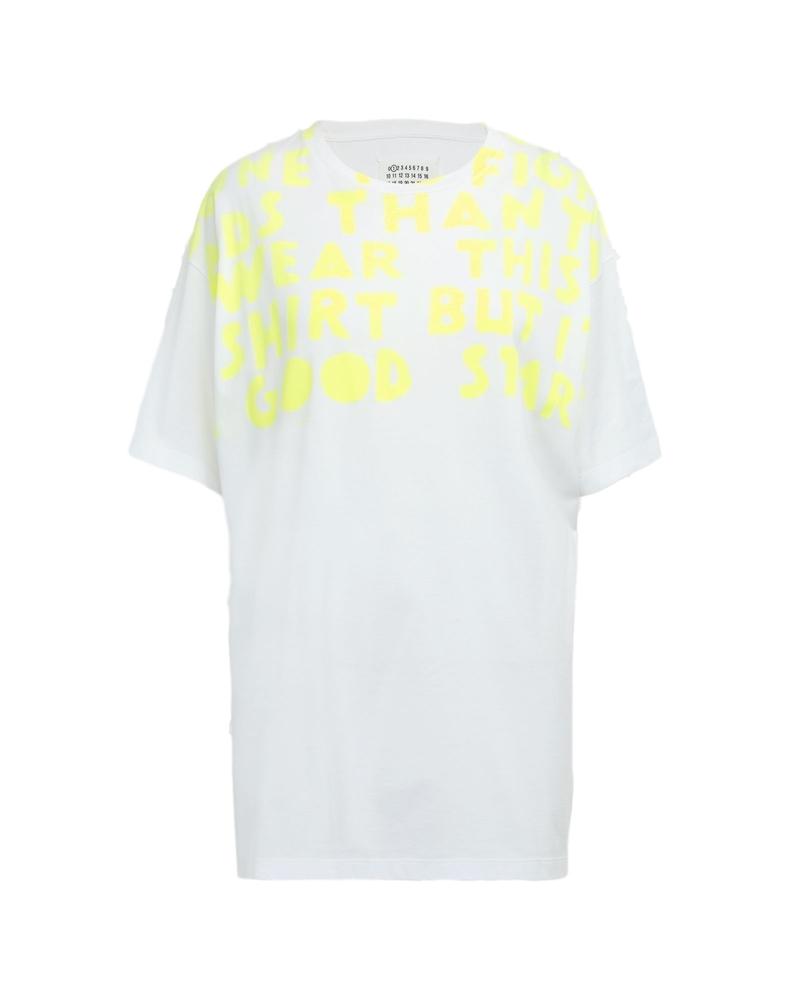 Maison Margiela Lady's メゾンマルジェラ レディース 19S/S AIDS チャリティ-プリント ジャージー Tシャツ COLOR : 988 WHITE