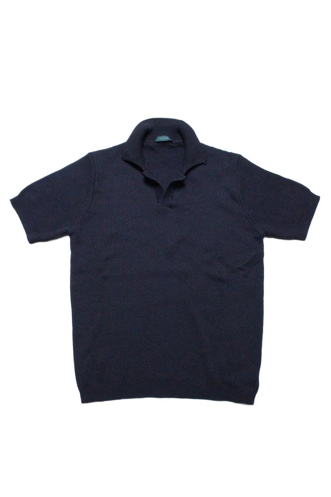 【正規取扱店】ZANONE ザノーネ スキッパーニットポロシャツ 812163 Z1222 NAVY