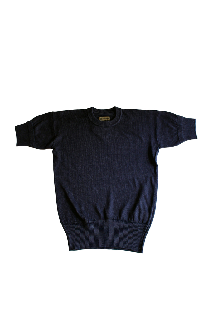 NIGEL CABOURN ナイジェルケーボン 19S/S LINE SHORT SLEEVE KNIT 204 NAVY