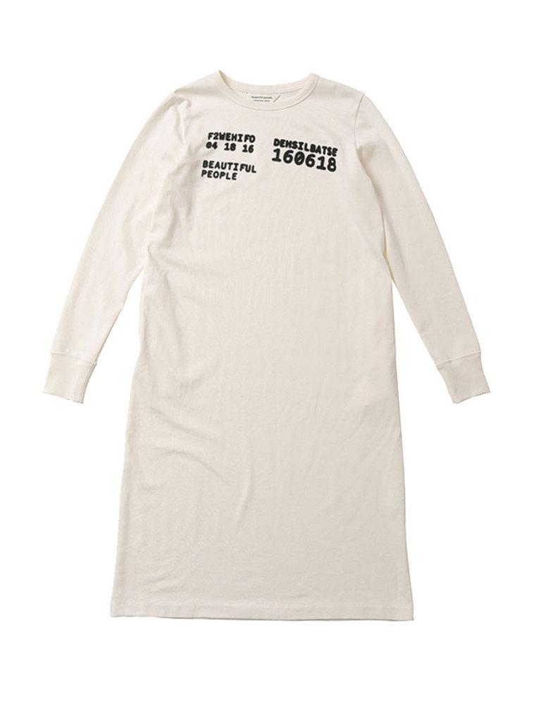【正規取扱店】beautiful people 19-20A/W スビンピマジャージ―ナンバーロングTシャツドレス navy/off white (ビューティフルピープル)