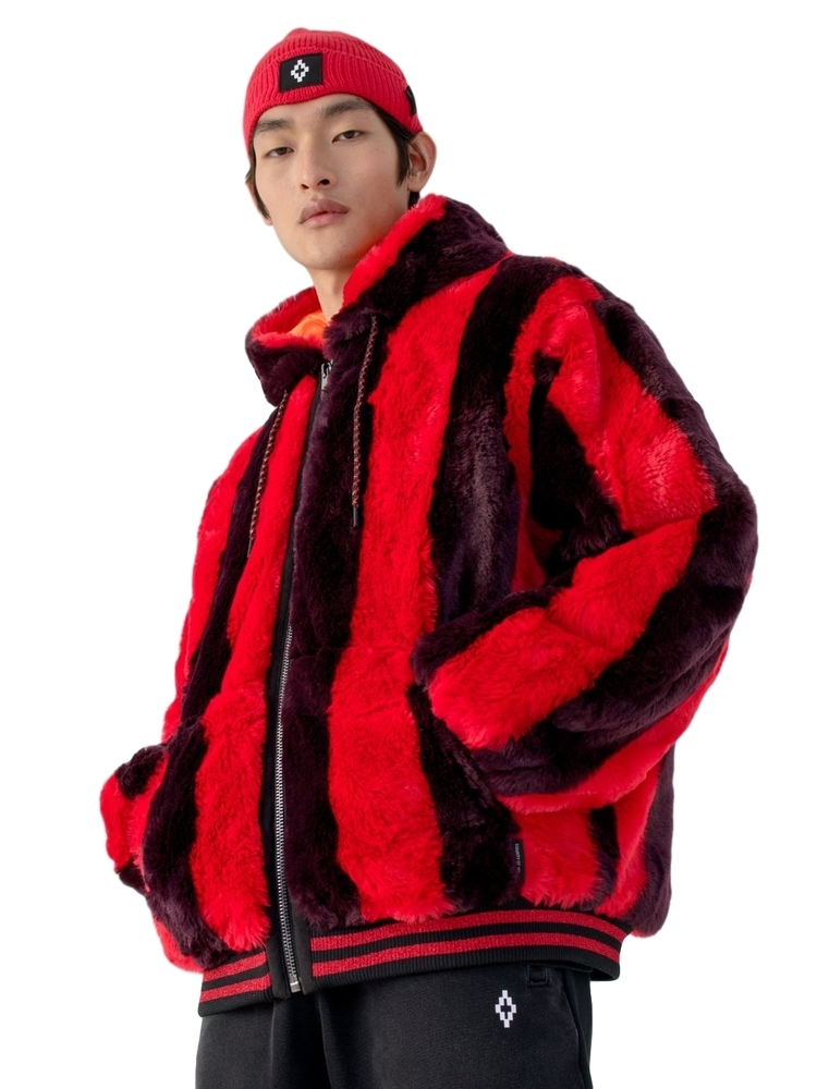 MARCELO BURLON マルセロ ブロン FAKE FUR BOMBER RED DARK PURPLE