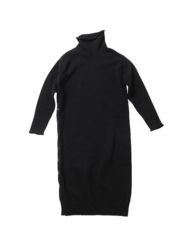 beautiful people ビューティフルピープル コットンハイネックニッティングドレス black