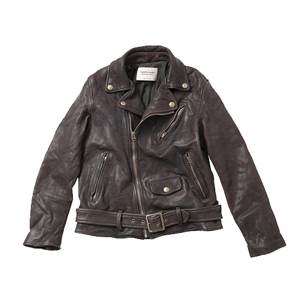 【正規取扱店】beautiful people 定番ライダースジャケット shrink leather riders jacket GRAY (ビューティフルピープル)