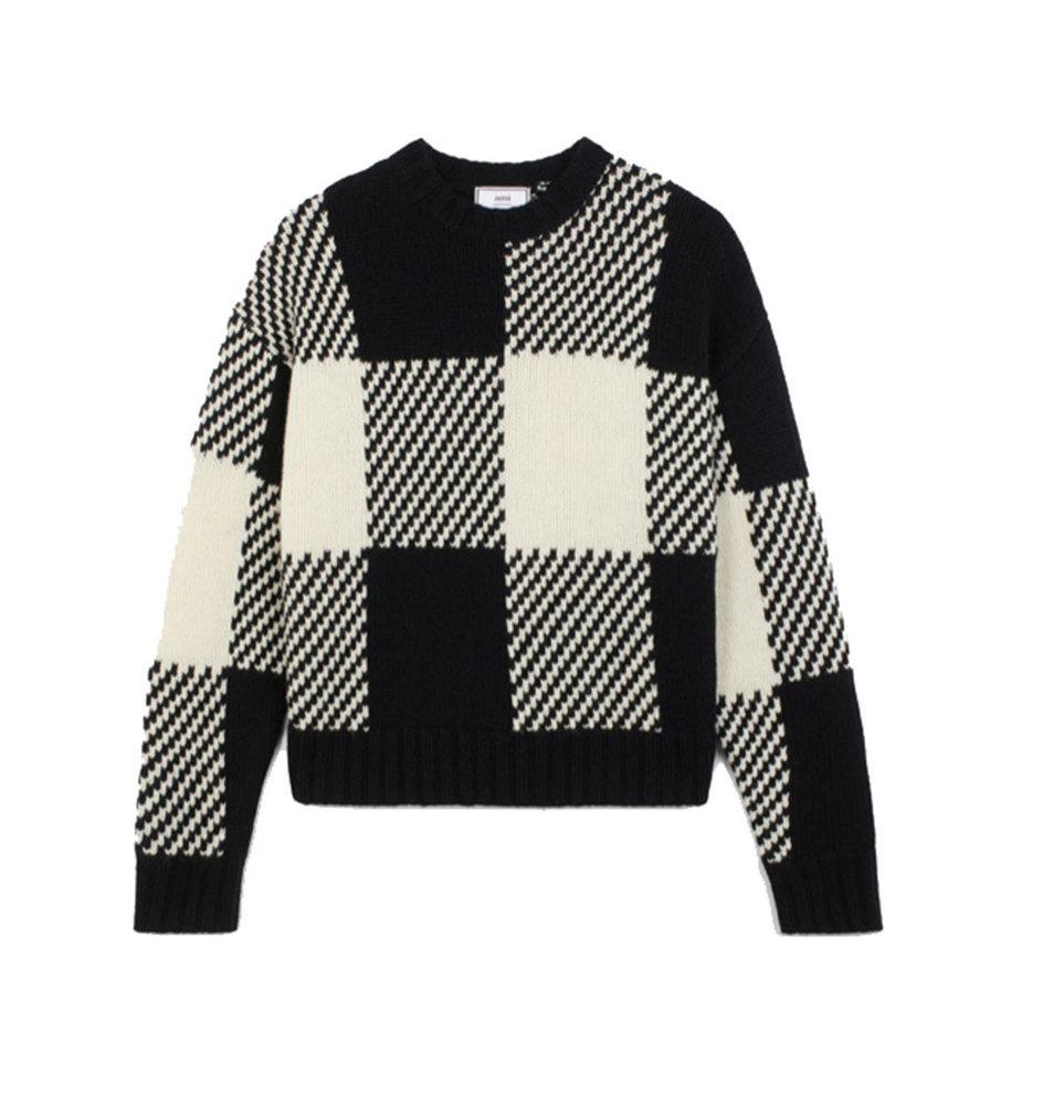 【正規取扱店】AMI Alexandre Mattiussi 20S/S オーバーサイズ チェック セーター WHITE/BLACK (アミ アレクサンドル マテュッシ)