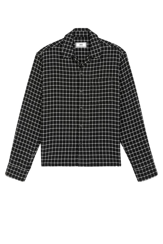 AMI Alexandre Mattiussi アミ アレクサンドル マテュッシ 20S/S キャンプカラー オーバーシャツ BLACK/WHITE