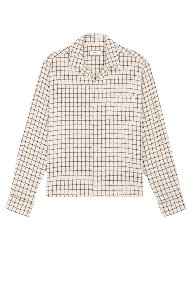 【正規取扱店】AMI Alexandre Mattiussi 20S/S キャンプカラー オーバーシャツ WHITE/BLACK (アミ アレクサンドル マテュッシ)