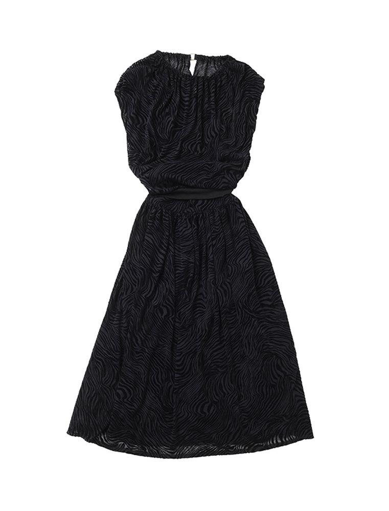beautiful people ビューティフルピープル 20S/S ゼブラプリントコットンブラウジングドレス black