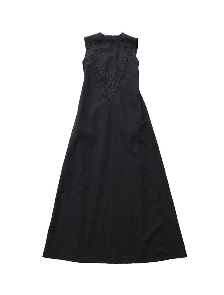 beautiful people ビューティフルピープル 20S/S カットワークエンブロイダリースリーブレスドレス black