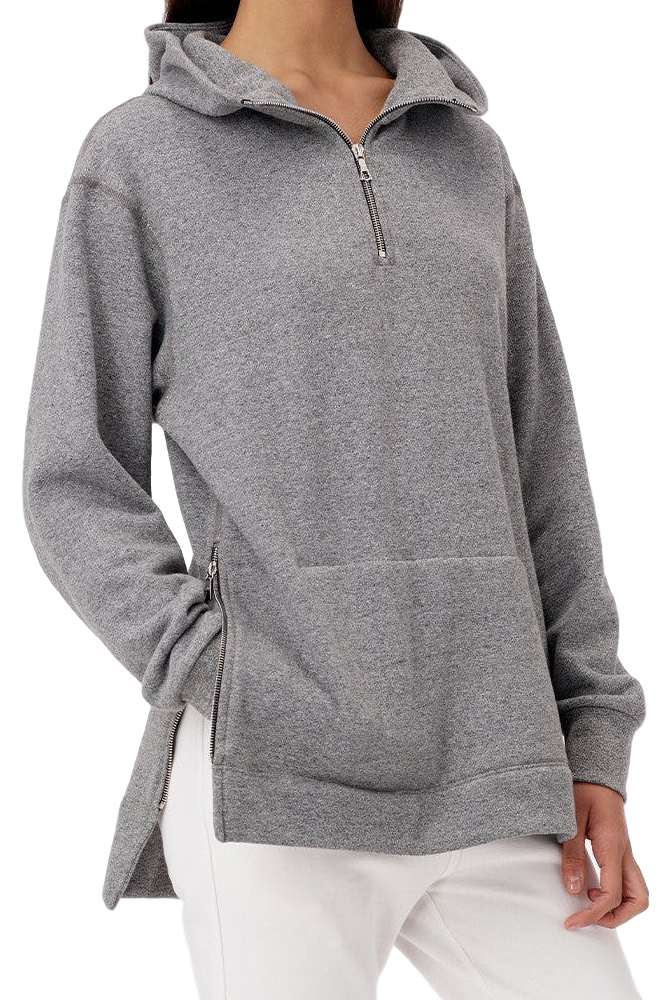 JOHN ELLIOTT ジョンエリオット WOMEN'S HALF ZIP HOODED VILLAIN DARK GREY